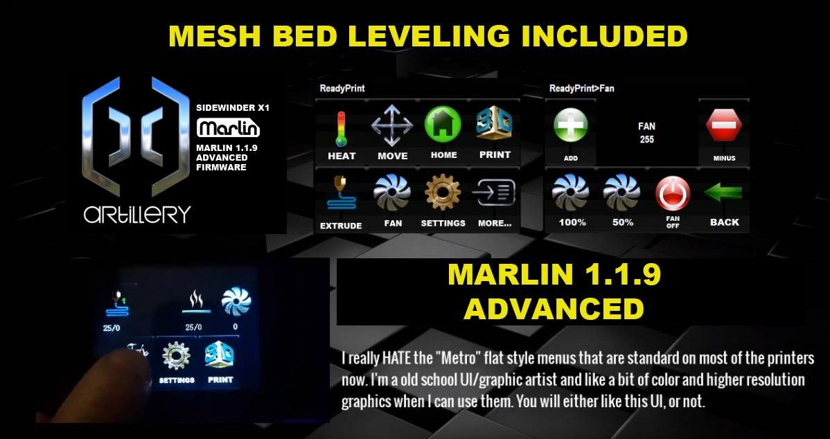 Artillery Sidewinder X1: Marlin Advanced 1.1.9 With NEW UI and Mesh Bed Leveling (And More)