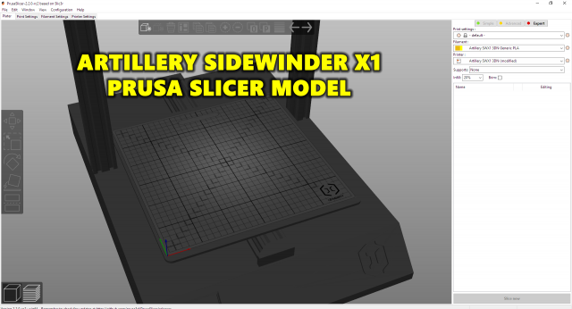 Artillery Sidewinder Model for Prusa Slicer