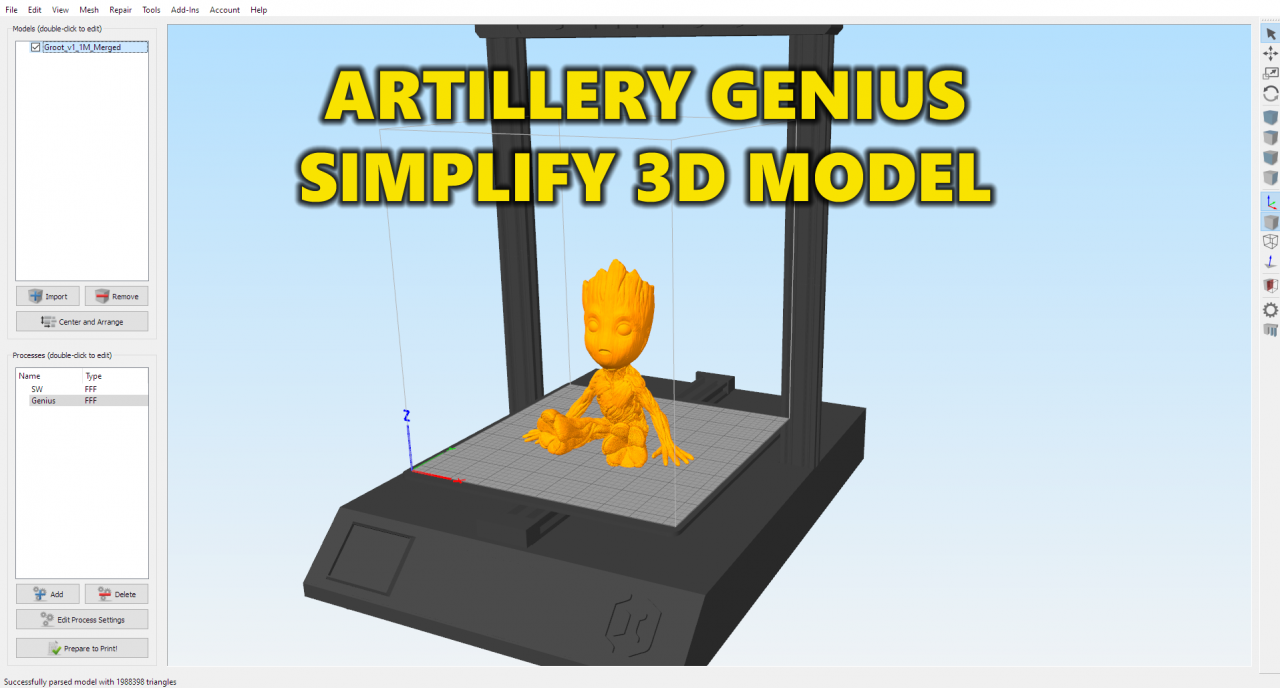 Artillery Genius Simplify 3D Model