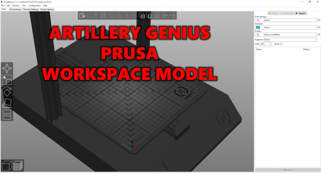 Artillery Genius Prusa Slicer Workspace Model and Bed Mat